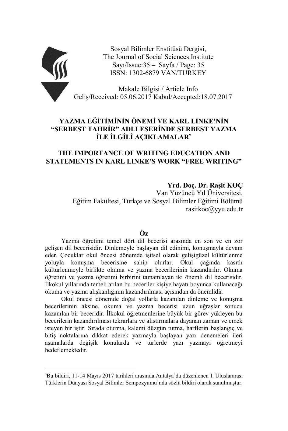 Sayfa Page 35 Issn 1302 Yuzuncu Yil Universitesi Sosyal
