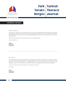 editörden / edıtorıal - Turkish Thoracic Journal