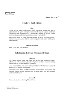 Müzik ve Renk İlişkisi Relationship Between Music and