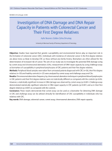Investigation of DNA Damage and DNA Repair Capacity