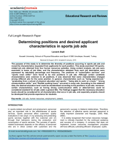 Determining positions and desired applicant characteristics in sports job ads