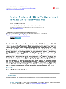 Content Analysis of Official Twitter Account of Under 20 Football World Cup