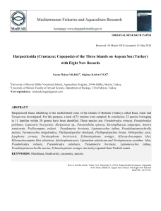 Harpacticoida (Crustacea: Copepoda) of the Three Islands on Aegean Sea (Turkey) with Eight New Records
