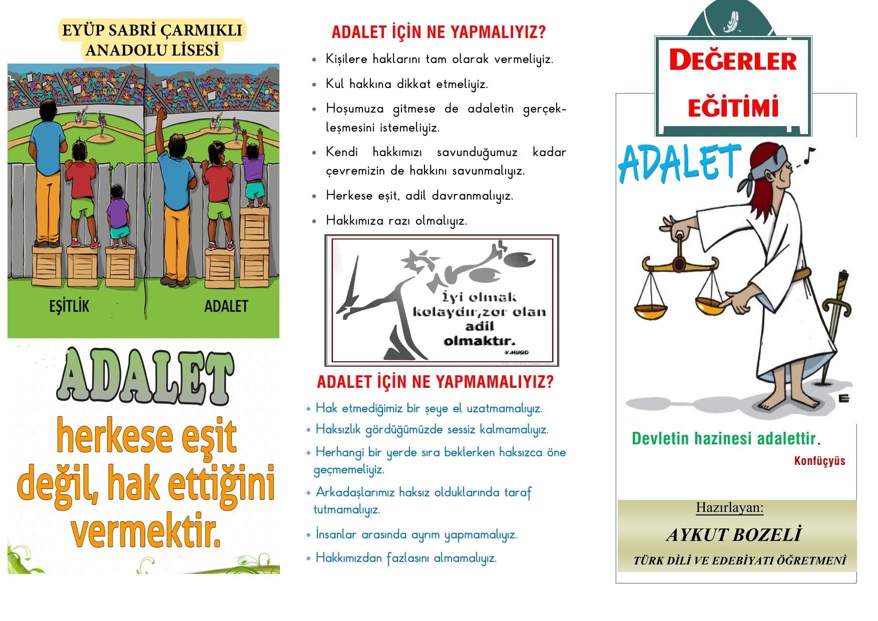 adalet konulu brosur