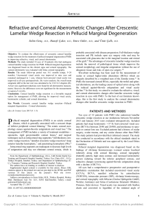 Refractive and Corneal Aberrometric Changes After Crescentic Lamellar Wedge Resection in Pellucid Marginal Degeneration