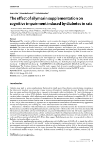 [Journal of Basic and Clinical Physiology and Pharmacology] The effect of silymarin supplementation on cognitive impairment induced by diabetes in rats