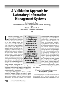 A Validation Approach for Laboratory Information Management Systems
